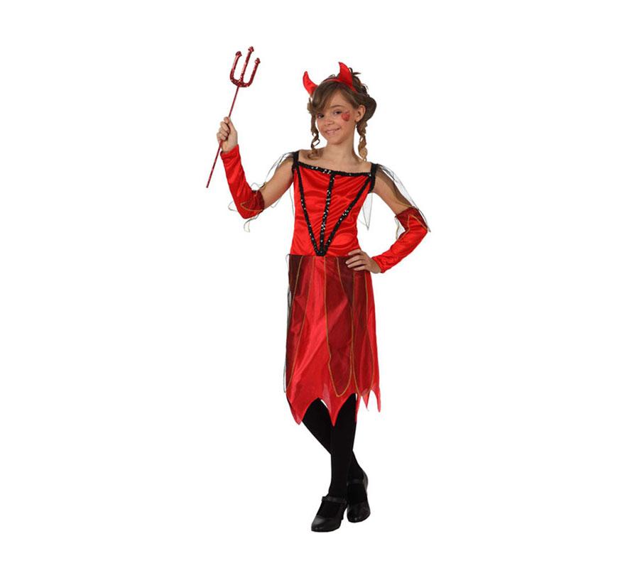 Disfraz de Demonia o Diablesa para niñas de 10 a 12 años. Incluye vestido, manguitos y diadema. Tridente NO incluido, podrás verlo en la sección de Complementos.