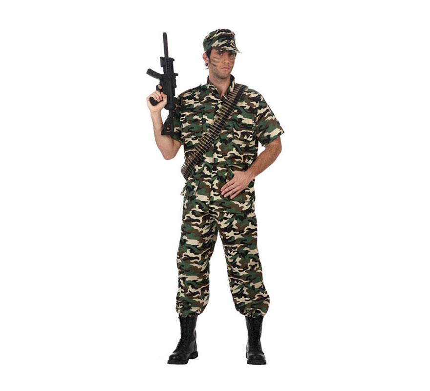 Disfraz de Soldado Camuflaje manga corta para hombre. Talla Standar M-L 52/54. Incluye gorra, pantalón y camisa. Balas y Metralleta NO incluidas, podrás verlas en la sección de Complementos.