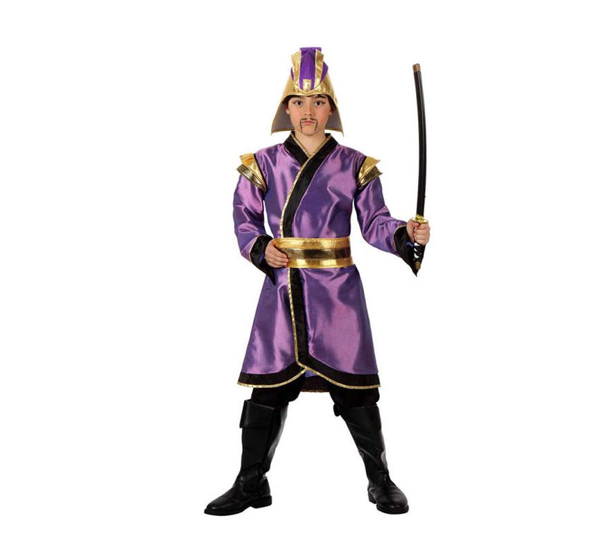 Disfraz de Japonés para niños de 5 a 6 años. Incluye pantalón, cinturón, casaca y gorro. Espada NO incluida, podrás verla en la sección de Complementos. Disfraz de Guerrero Samurai para niños muy original.