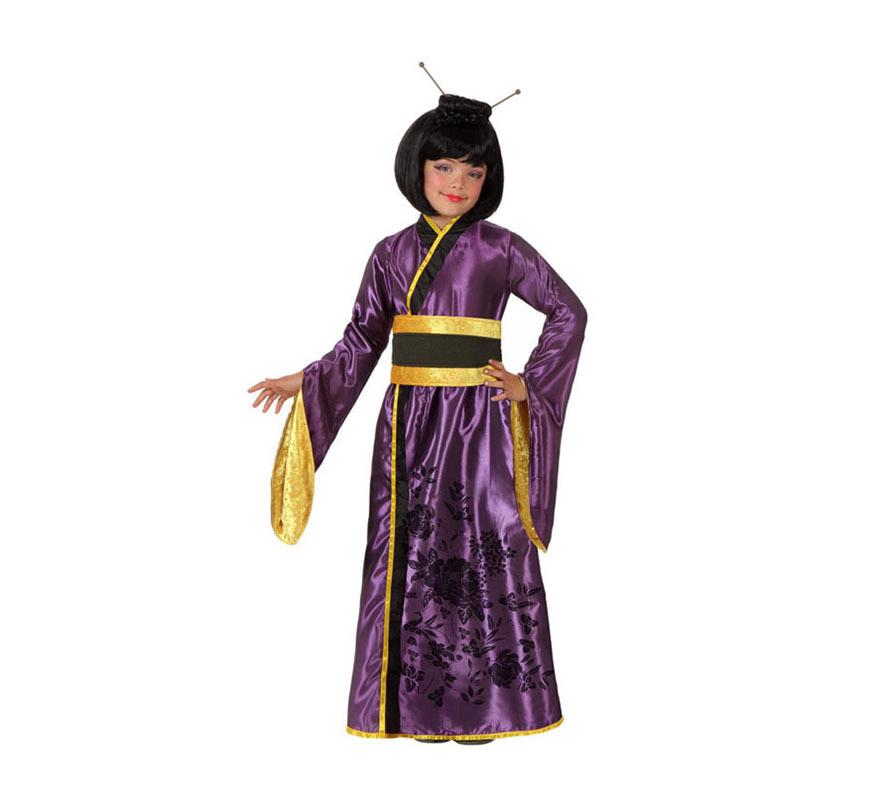 Disfraz de Geisha Japonesa para niñas de 7 a 9 años. Incluye vestido y fajín. Peluca NO incluida, podrás ver algunas pelucas de Gheisa en la sección de Complementos.