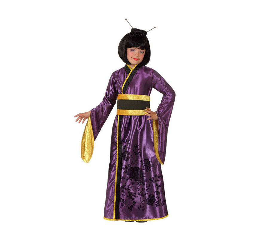 Disfraz de Geisha Japonesa para niñas de 10 a 12 años. Incluye vestido y fajín. Peluca NO incluida, podrás ver algunas pelucas de Gheisa en la sección de Complementos.