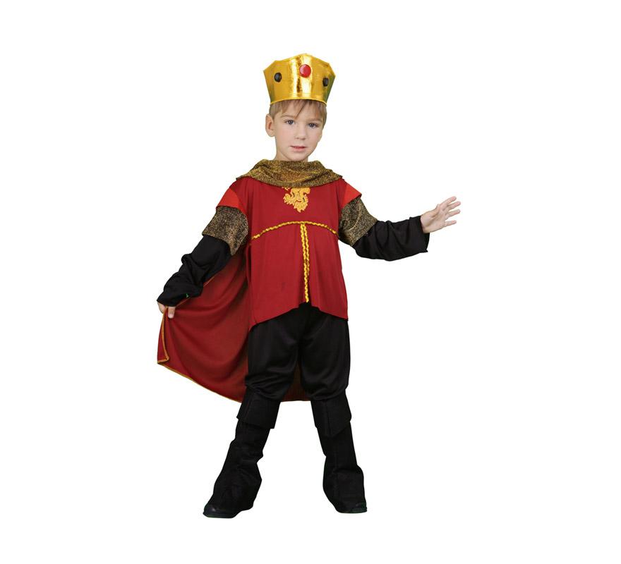 Disfraz barato de Rey Ricardo corazón de león infantil para Carnaval. Talla de 3 a 4 años. Incluye camisa con capa, pantalón, cubrebotas y corona.