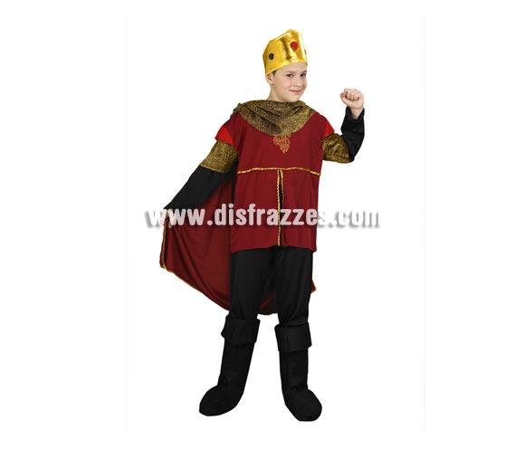 Disfraz barato de Rey Ricardo corazón de león infantil para Carnaval. Talla de 7 a 9 años. Incluye camisa con capa, pantalón, cubrebotas y corona.