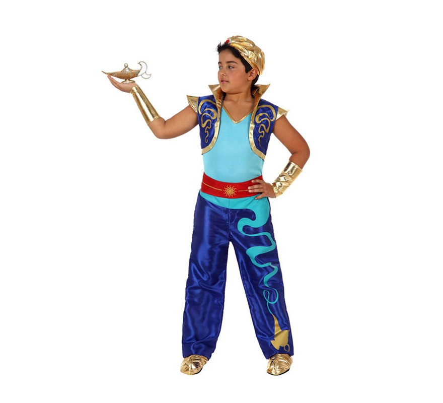 Disfraz de Genio Encantado o de Príncipe Árabe para niños de 7 a 9 años. Incluye disfraz SIN babuchas, ni lámpara. Podrás encontrar en la sección de Complementos. Ideal para disfrazarse del Genio en la película de Aladín.