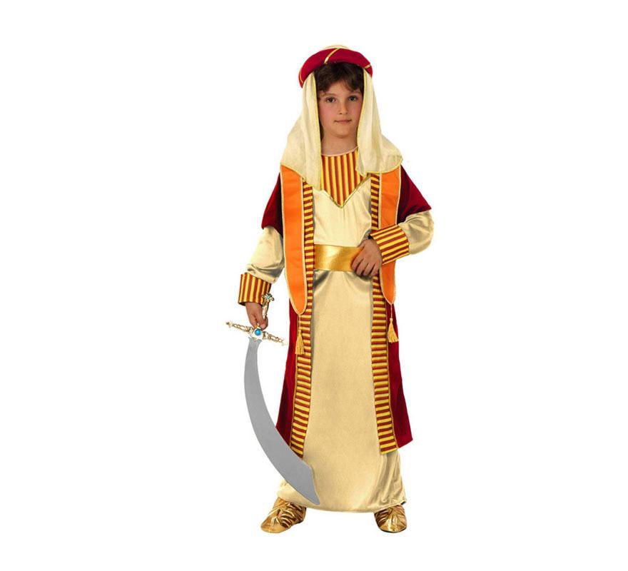 Disfraz de Árabe para niños de 7 a 9 años. Incluye disfraz completo SIN la espada y SIN las babuchas. Podrás verlos en la sección de Complementos. Éste traje también sirve como disfraz de Paje Real de los Reyes Magos para Navidad.