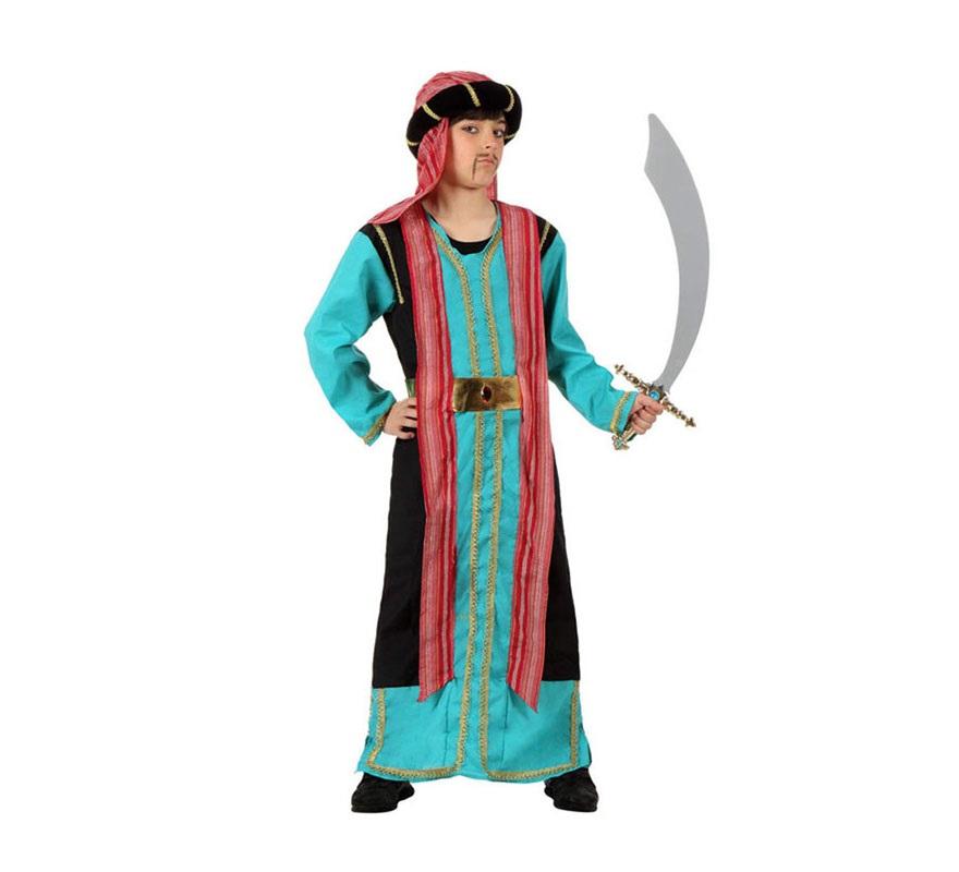 Disfraz de Jeque Árabe azul para niños de 7 a 9 años. Incluye túnica, cinturón y gorro. Espada NO incluida, podrás verla en la sección de Complementos. Éste disfraz también vale como traje de Paje Real de los Reyes Magos en Navidad.