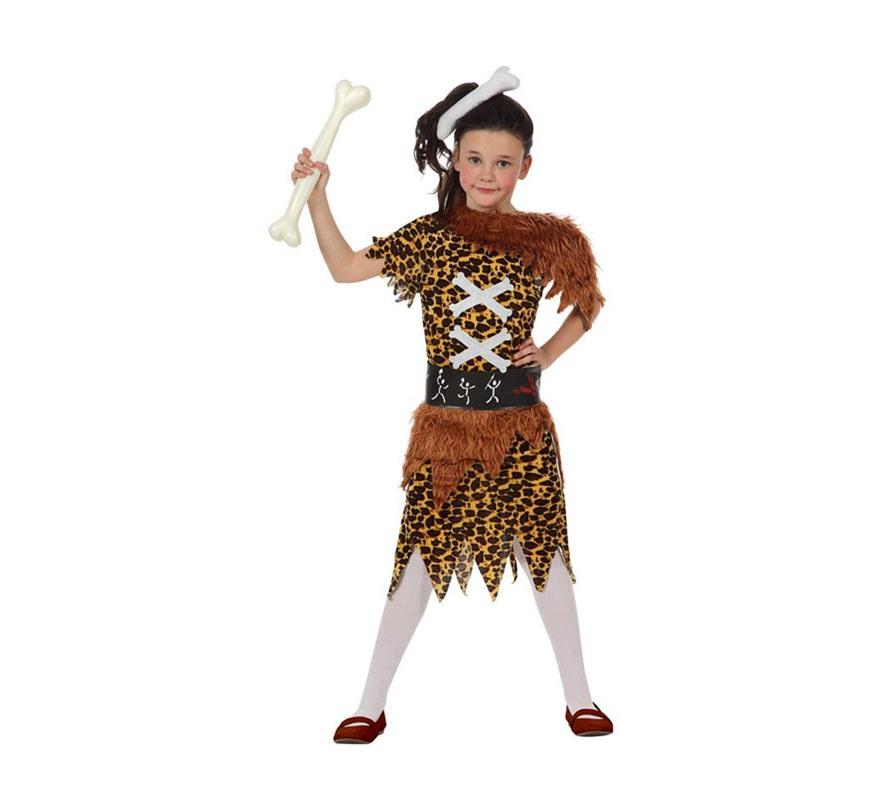 Disfraz de Troglodita o Cavernícola para niñas de 5 a 6 años. Incluye hueso para la cabeza, vestido y cinturón. El Hueso que lleva en la mano, las medias y los zapatos NO incluidos. El hueso podrás verlo en la sección de Complementos.