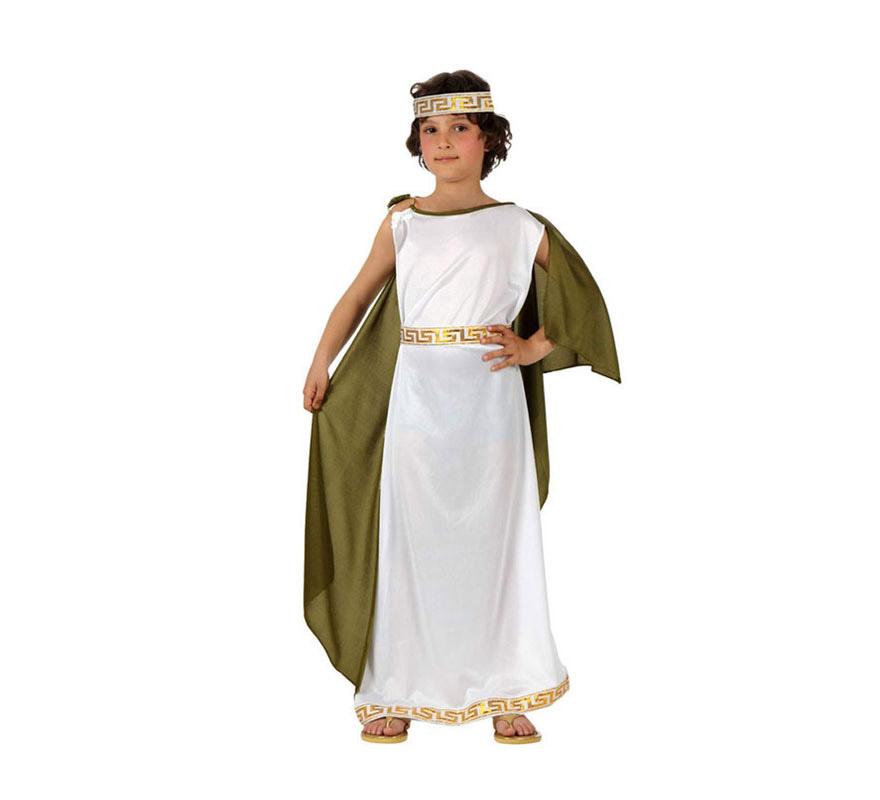 Disfraz de Romano para niños de 7 a 9 años. Incluye túnica, manto y cinta de la cabeza.