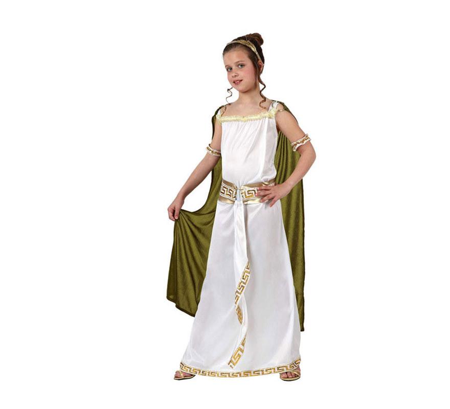 Disfraz de Romana para niñas de 7 a 9 años. Incluye túnica, manto y cinta de la cabeza.