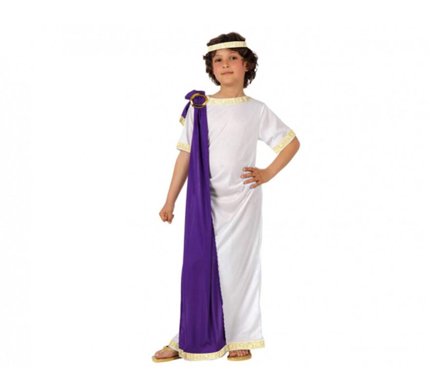 Disfraz barato de Emperador Romano para niños de 5 a 6 años. Incluye vestido, capa y tocado. Éste disfraz también se utiliza para teatros en Navidad como traje de Herodes.