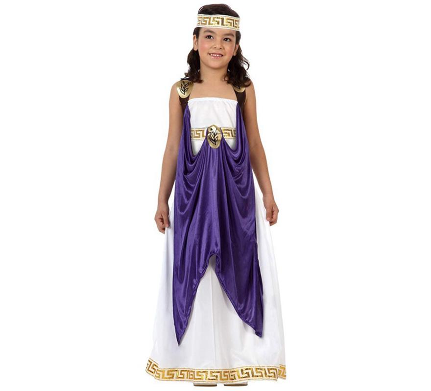 Disfraz de Dama Romana para niñas de 7 a 9 años. Incluye túnica, vestido y tocado de la cabeza.