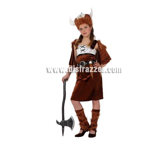 Disfraz de Vikinga para niñas de 3 a 4 años. Incluye vestido, gorro y cinturón. Hacha NO incluida. podrás ver en la sección de Complementos.