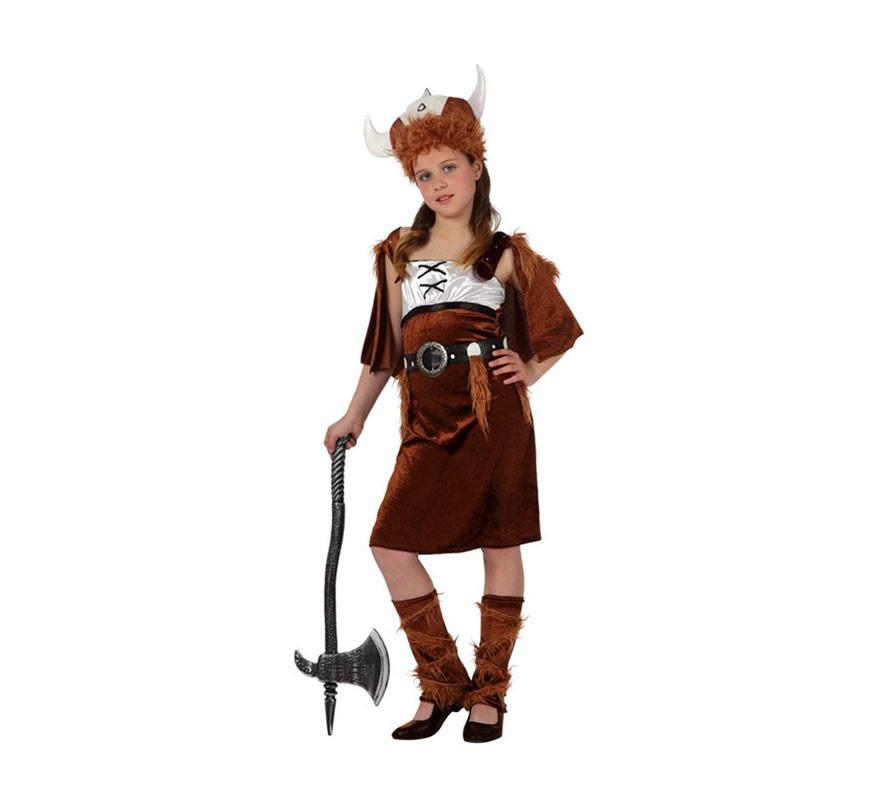 Disfraz de Vikinga para niñas de 7 a 9 años. Incluye vestido, gorro y cinturón. Hacha NO incluida. podrás ver en la sección de Complementos.