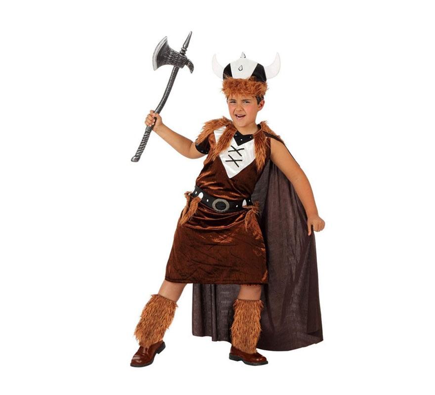 Disfraz de Vikingo para niños de 10 a 12 años. Incluye vestido con capa, cinturón y gorro. Hacha NO incluida, podrás verla en la sección de Complementos.