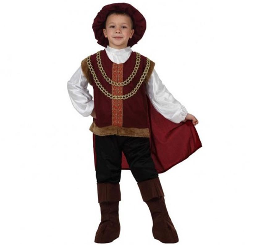 Disfraz de Príncipe Medieval para niños de 5 a 6 años. Incluye disfraz completo.