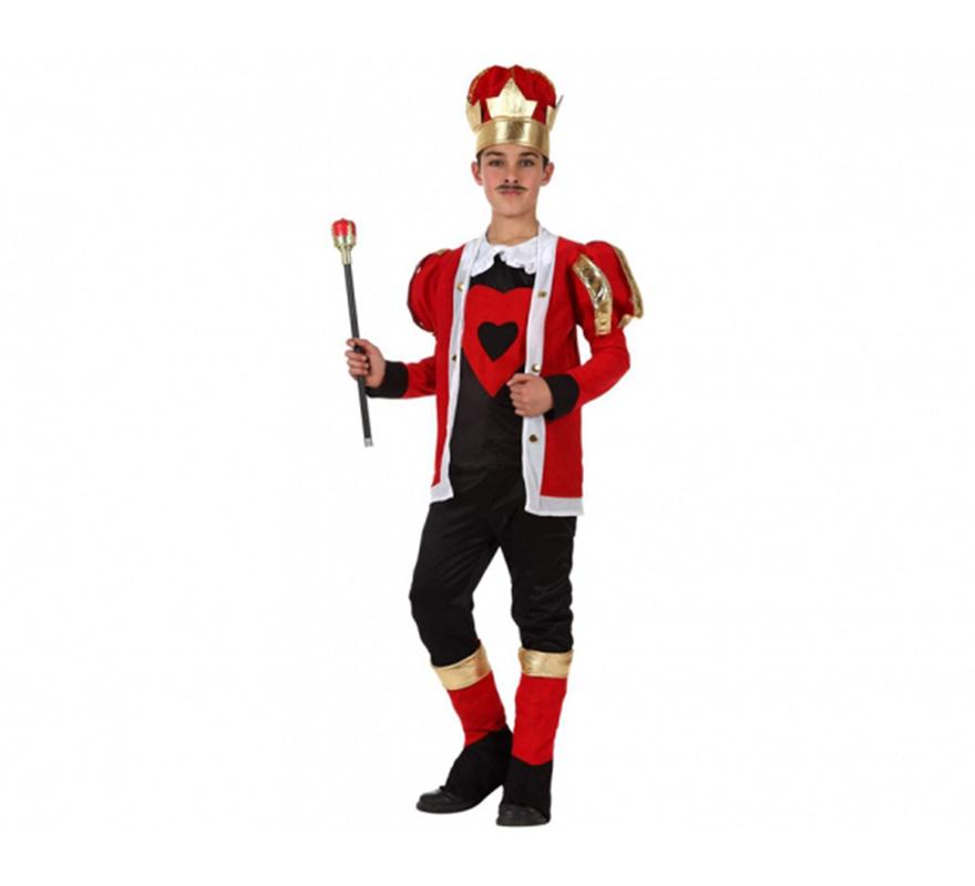 Disfraz de Rey de Corazones para niños de 7 a 9 años. Incluye gorro, chaqueta, camisa, pantalón y cubrebotas. Cetro NO incluido, podrás verlo en la sección de Complementos.
