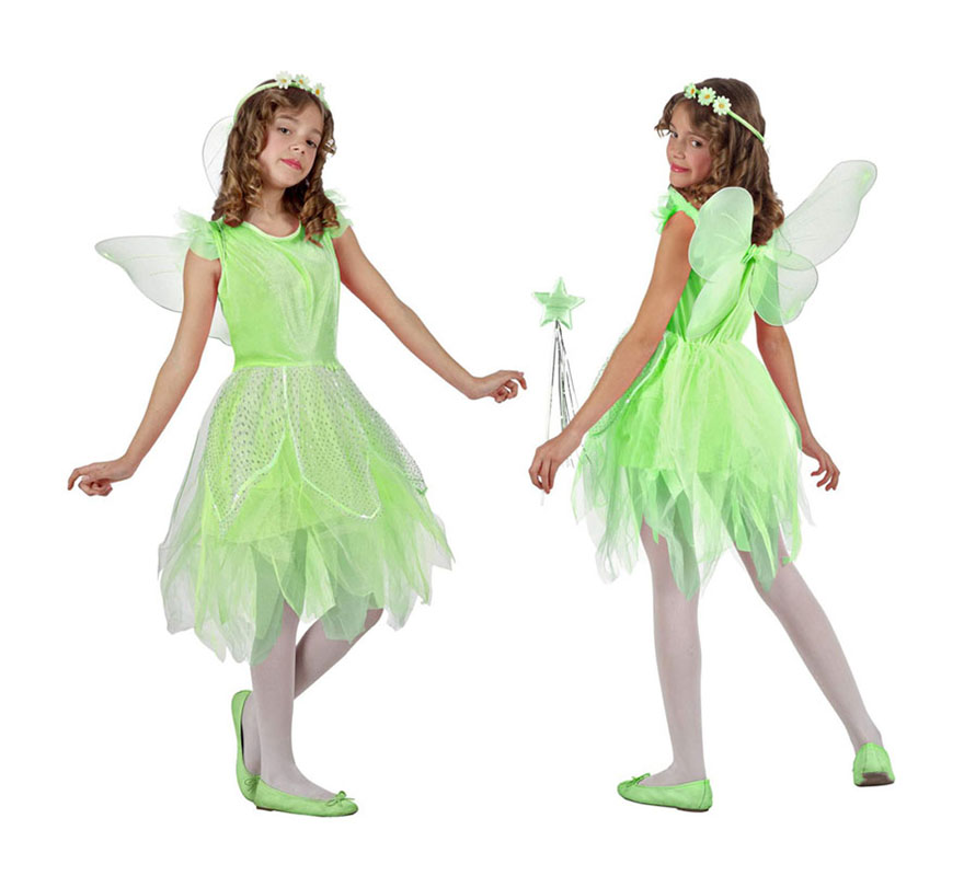 Disfraz de Hada verde para niñas de 7 a 9 años. Incluye vestido, alas y diadema. Zapatos. medias y varita NO incluidos. Varitas podrás encontrar en la sección de Complementos.
