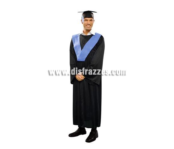 Disfraz de Graduado adulto barato para Carnaval. Talla Standar M-L = 52/54, también valdría para mujeres talla XL. Incluye birrete, beca y toga.