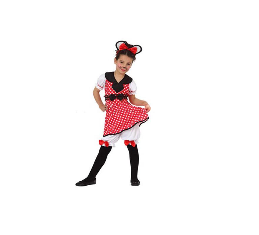 Disfraz barato de Ratita o Ratoncita infantil para niñas de 7 a 9 años. Incluye camiseta, pantalón y diadema.