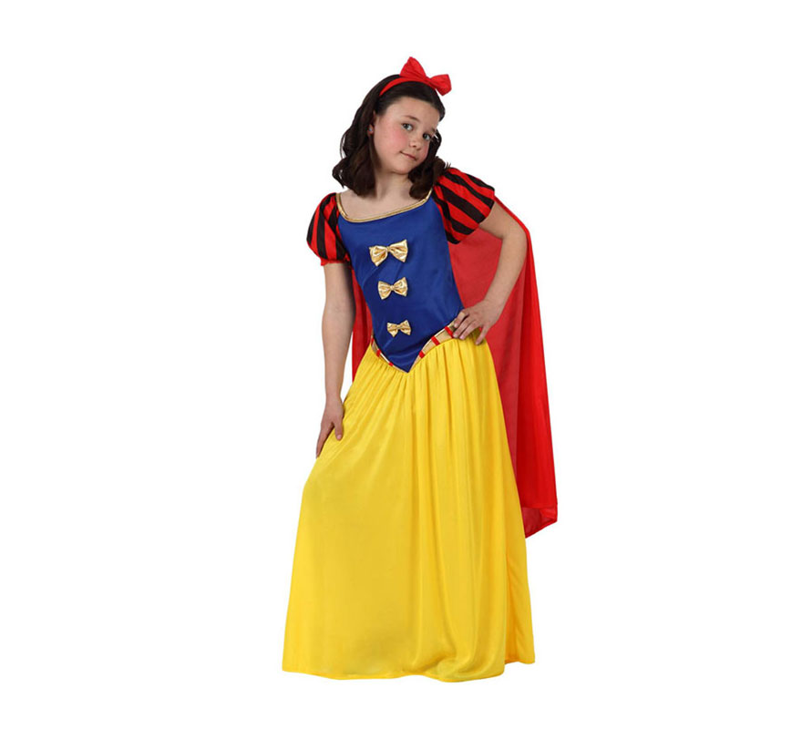 Disfraz de Princesa de las Nieves o de Blancanieves para niñas de 7 a 9 años. Incluye disfraz completo. Ideal para regalar en Navidad.