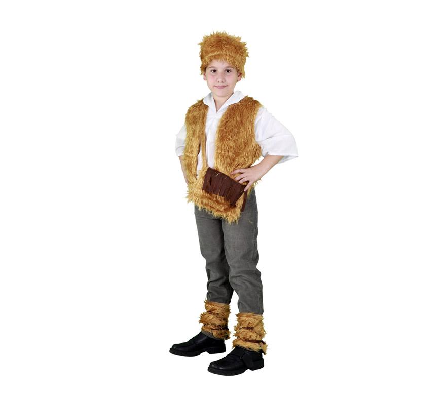 Disfraz de Pastor para niño de 3 a 4 años. Incluye gorro, chaleco, zurrón y calentadores.