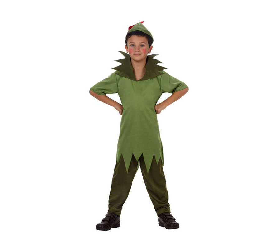 Disfraz de Robin Ladrón de los Bosques o Peter Pan para niños de 7 a 9 años. Incluye pantalón,camisa y gorro. Éste disfraz puede servir tanto para Robin Hood el Príncipe de los Ladrones, como para disfrazarse de Peter Pan.