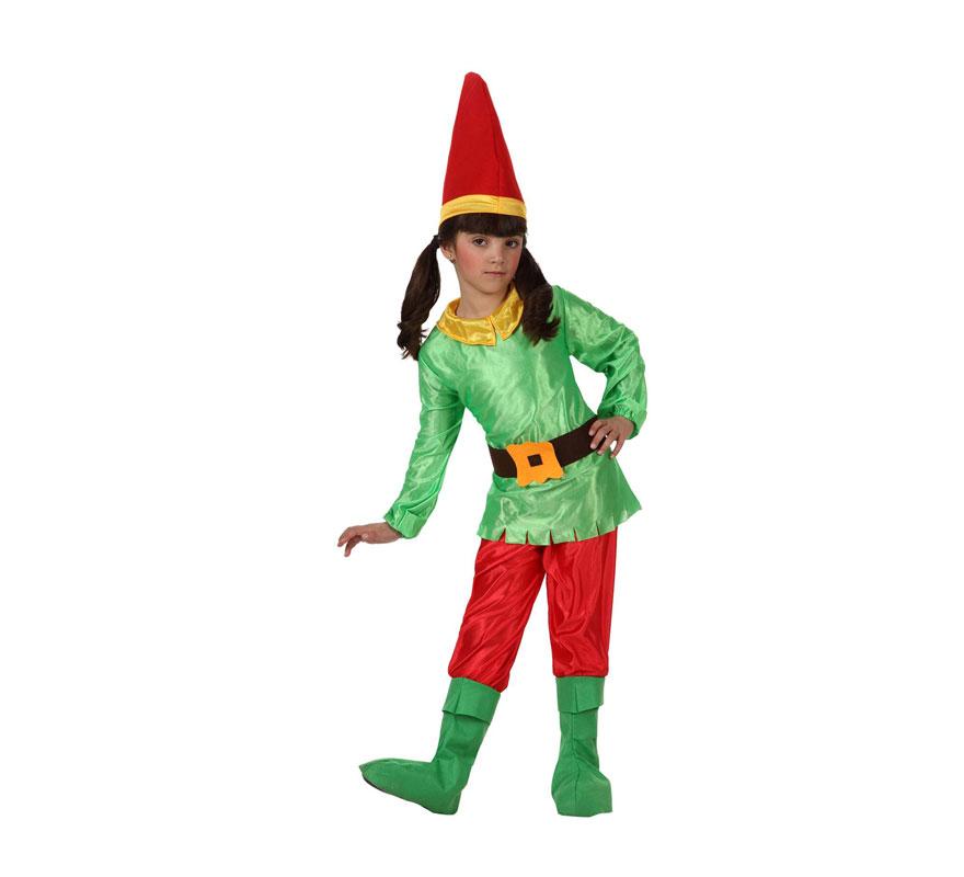 Disfraz de Enanita para niñas de 3 a 4 años. Incluye disfraz completo. Un disfraz que también sirve para disfrazar a los niños de Duendes en Navidad.