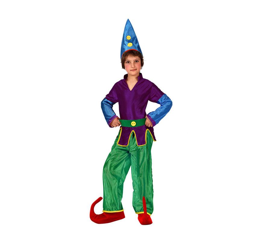 Disfraz de Duendecillo para niños de 7 a 9 años. Incluye camisa, pantalón y gorro. Babuchas NO incluidas, podrás verlas en la sección de Complementos. Ideal para disfrazarse de Enanito.