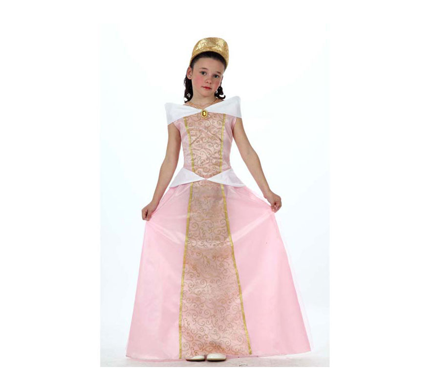 Disfraz de Princesa Rosa para niñas de 5 a 6 años. Incluye vestido y diadema. Disfraz de Dama Medieval.