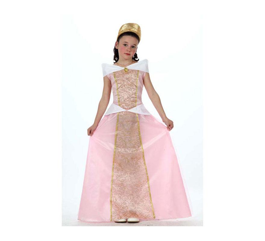 Disfraz de Princesa Rosa para niñas de 7 a 9 años. Incluye vestido y diadema. Disfraz de Dama Medieval.