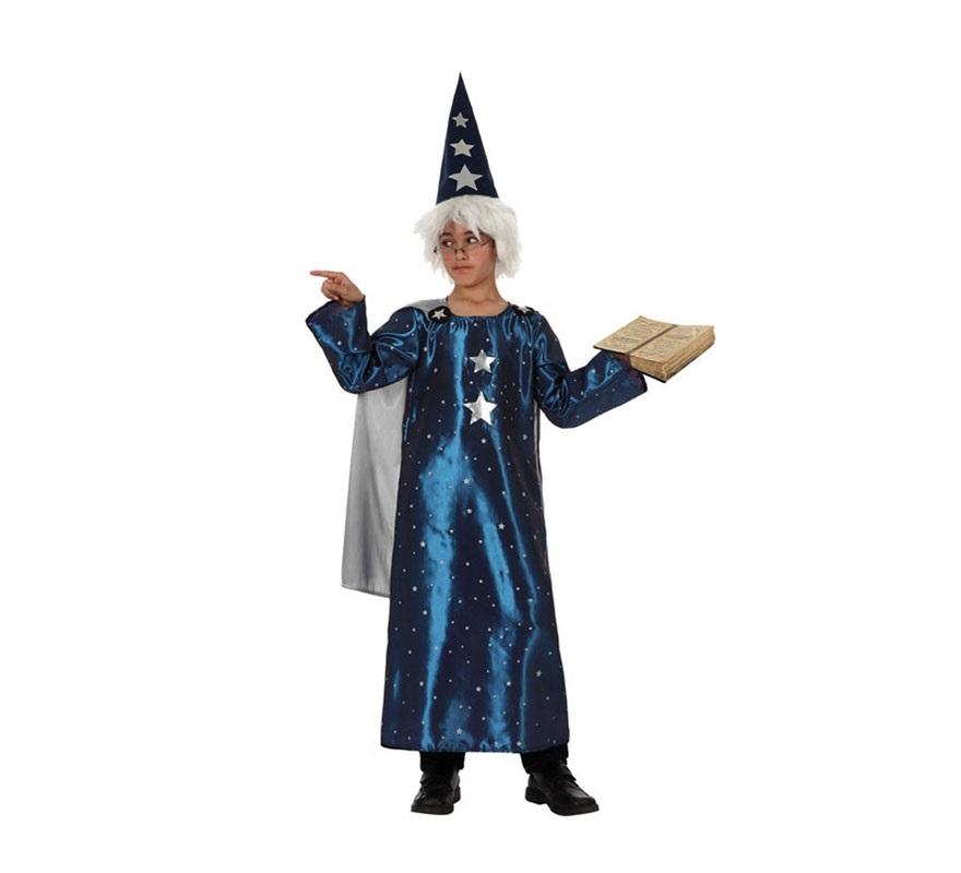 Disfraz de Mago para niños de 5 a 6 años. Incluye sombrero, túnica y capa. Gafas, Peluca y Libro NO incluidos. Las Gafas y la Peluca podrás verlas en la sección de Complementos. También podría servir como disfraz de Brujo para Halloween.