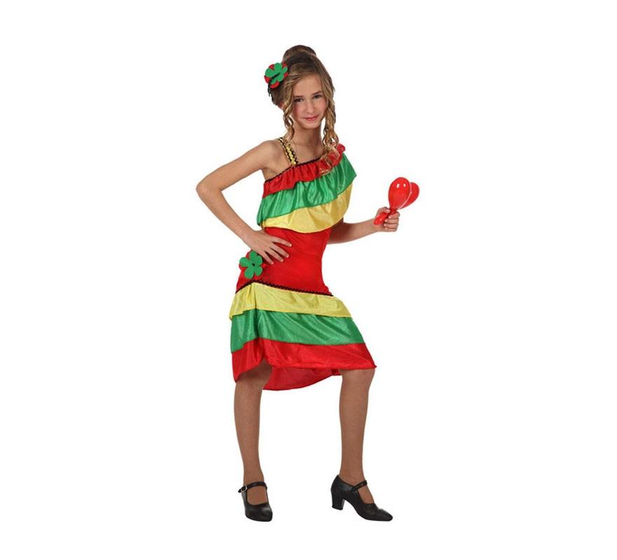 Disfraz de Rumbera con volantes para niñas de 7 a 9 años. Incluye vestido y tocado. Zapatos y maracas NO incluidas. Las maracas podrás verlas en la sección de Complementos.