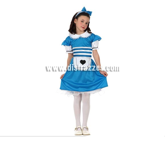 Disfraz de Alicia para niñas de 5 a 6 años. Incluye vestido y diadema. Precioso disfraz de Alicia en el que las niñas podrán desarrollar toda su imaginación jugando a imaginar ser Alicia en el País de las Maravillas.