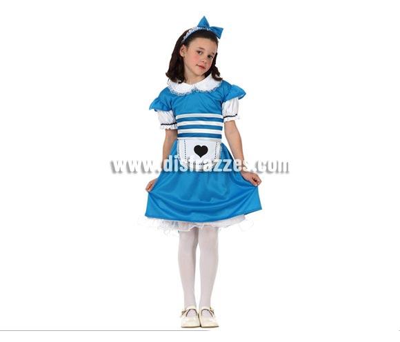 Disfraz de Alicia para niñas de 7 a 9 años. Incluye vestido y diadema. Precioso disfraz de Alicia en el que las niñas podrán desarrollar toda su imaginación jugando a imaginar ser Alicia en el País de las Maravillas.