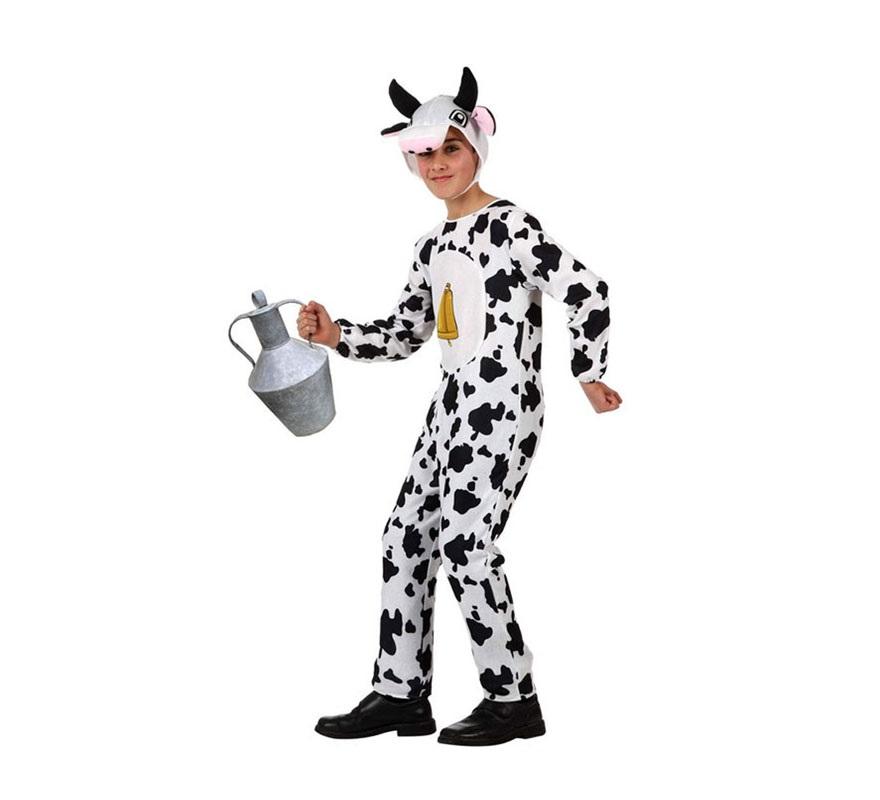 Disfraz barato de Vaca para niños de 5 a 6 años. Incluye mono y gorro. Jarra NO incluida.