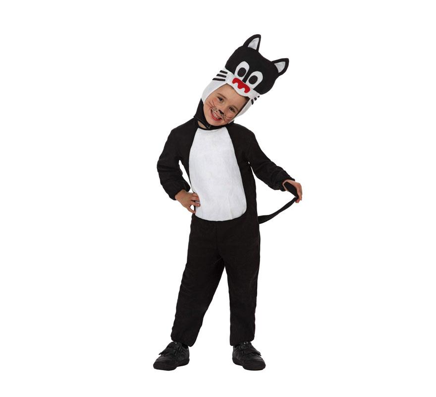 Disfraz de Gato o de Gatito para niños de 3 a 4 años. Incluye mono y gorro. Disfraz de Gata o Gatita para niños.