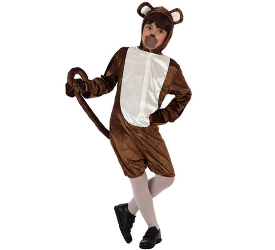 Disfraz de Mono divertido para niños de 3 a 4 años. Incluye mono con capucha y rabo y manoplas.