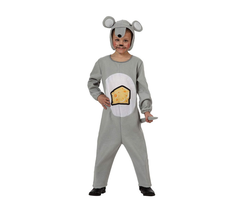 Disfraz barato de Ratón gris con queso impreso para niños de 5 a 6 años. Incluye mono con rabo y capucha.