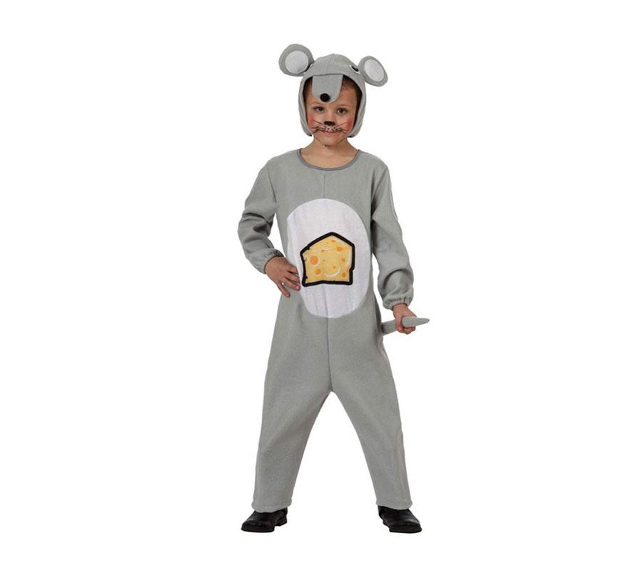 Disfraz barato de Ratón gris con queso impreso para niños de 7 a 9 años. Incluye mono con rabo y capucha.