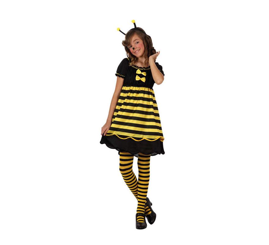 Disfraz de Abeja o Abejita para niñas de 7 a 9 años. Incluye vestido y diadema. Medias y zapatos NO incluidos.