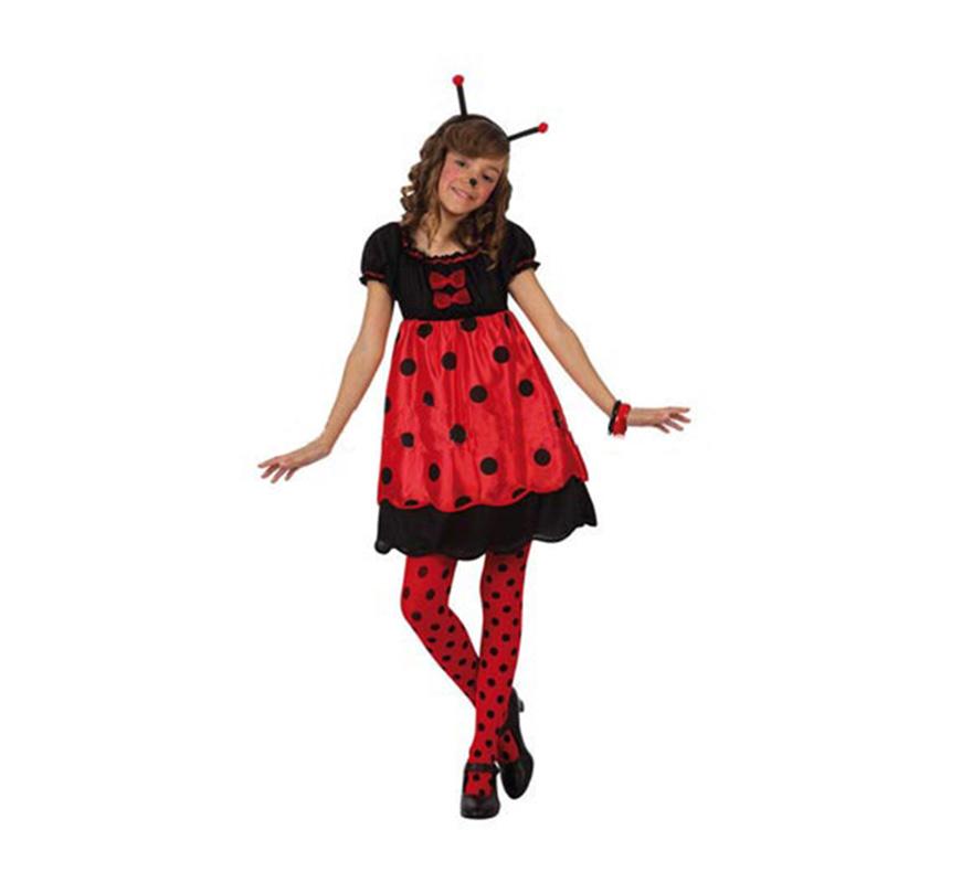 Disfraz de Mariquita para niñas de 7 a 9 años. Incluye vestido y  diadema con antenas. Medias, pulseras y zapatos NO incluidos, podrás verlas en la sección de Complementos.