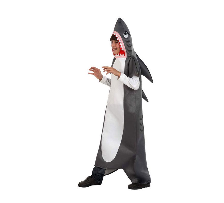Disfraz de Tiburón para niños de 5 a 6. Incluye disfraz completo.