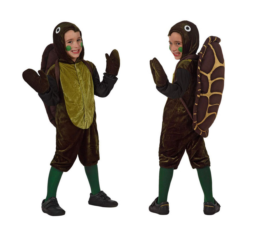 Disfraz de Tortuga para niños de 10 a 12 años. Incluye traje con capucha, caparazon  y manoplas. Medias NO incluidas.