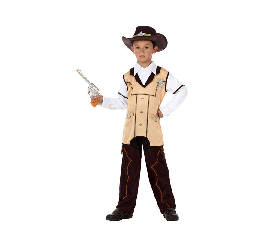 Disfraz de Sheriff o Vaquero para niños de 7 a 9 años. Incluye camisa con chaleco, pantalón y sombrero. Pistola NO incluida, podrás verla en la sección de Complementos.