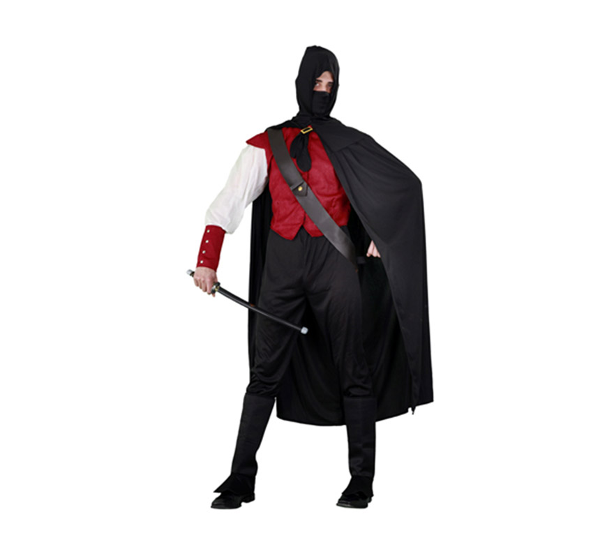 Disfraz de Héroe Halcón Rojo para hombre. Talla standar M-L = 52/54. Incluye camisa, pantalón, cubrebotas, capa con capucha, máscara y bandolera. Espada NO incluida, podrás verla en la sección de Complementos. Ni el mismo Águila Roja estaría tan gracioso con él, para ir a la última.