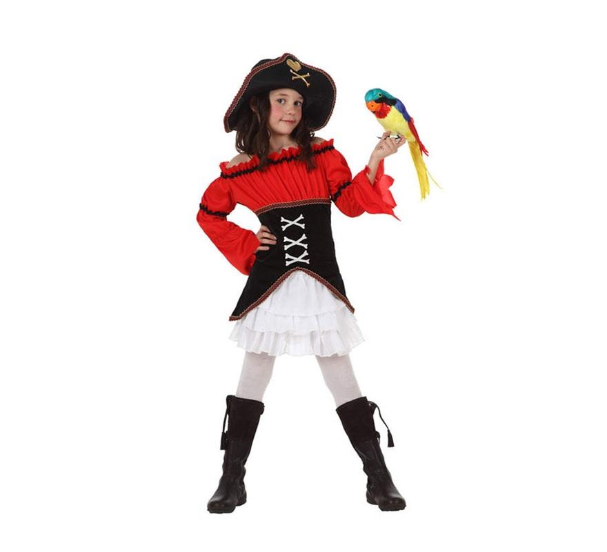 Disfraz de Capitana Pirata para niñas de 7 a 9 años. Incluye falda, camisa, corsé y sombrero. Botas, medias y loro NO incluidos. El loro podrás verlo en la sección de Complementos.