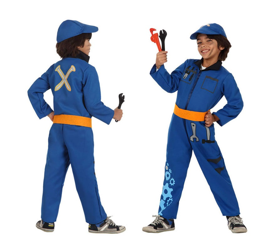 Disfraz de Mecánico para niños de 10 a 12 años. Incluye mono, cinturón y gorra, Herramientas NO incluidas.