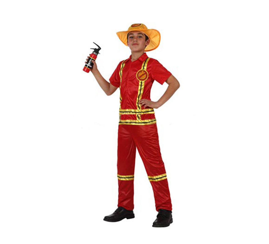 Disfraz de Bombero para niños de 7 a 9 años. Incluye pantalón, camisa y gorro. Extintor NO incluido. podrás encontrar un extintor hinchable con la ref: 05296BT en la sección de Complementos.