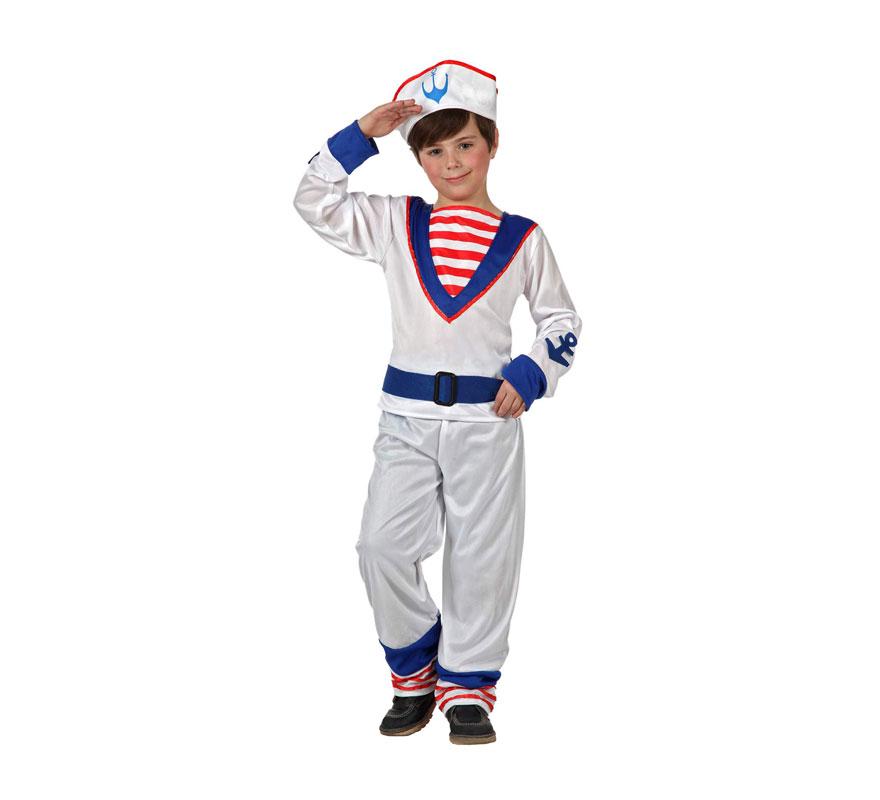 Disfraz de Marinero para niños de 5 a 6 años. Incluye pantalón, cinturón, camisa y gorro.
