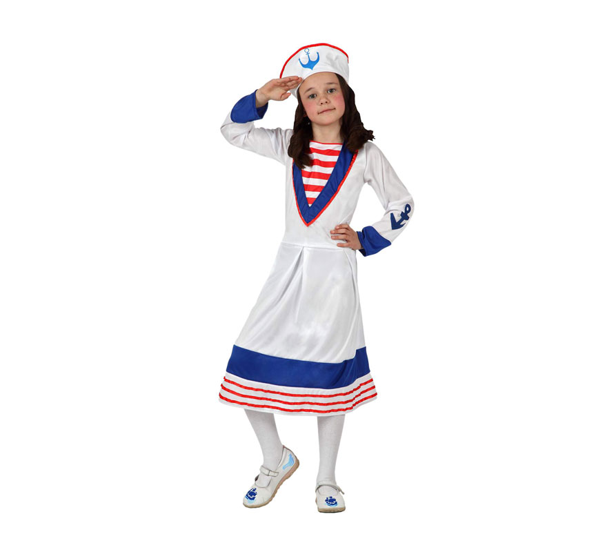 Disfraz de Marinera para niñas de 10 a 12 años. Incluye vestido y gorro.
